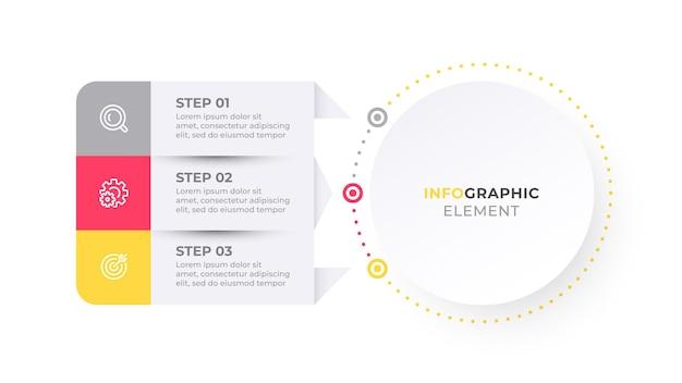 Biznesowa etykieta projektu elementu infografiki z ikonami i 3 opcjami lub krokami ilustracja wektorowa