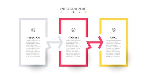 Biznesowa infografika szablon wektor projekt etykiety z 3 opcjami lub krokami
