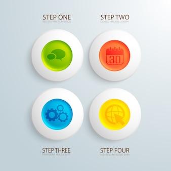 Biznesowa infografika z kolorowymi kółkami i płaskimi ikonami