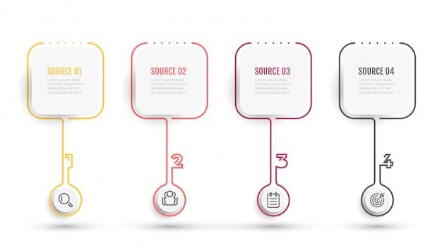 Biznesowa infographic cienka linia projekt z ikonami i kwadratem. oś czasu z 4 numerami opcji lub kroków.