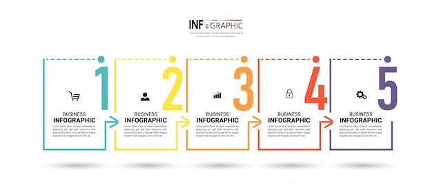Biznesowa infographic z pięcioma krokami