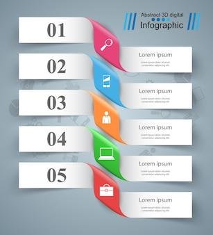 Biznesowa infographics origami stylu wektoru ilustracja.