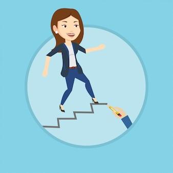 Biznesowa kobieta biega w górę drabiny kariery.