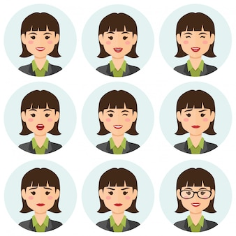 Biznesowa kobieta expresions avatar
