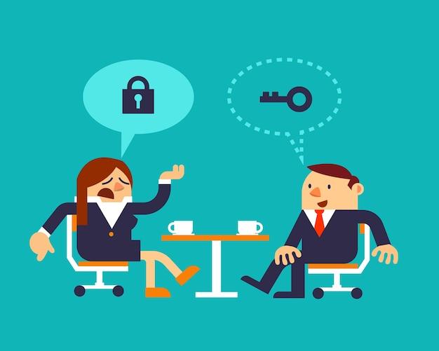 Biznesowa kobieta i biznesmena dyskutować