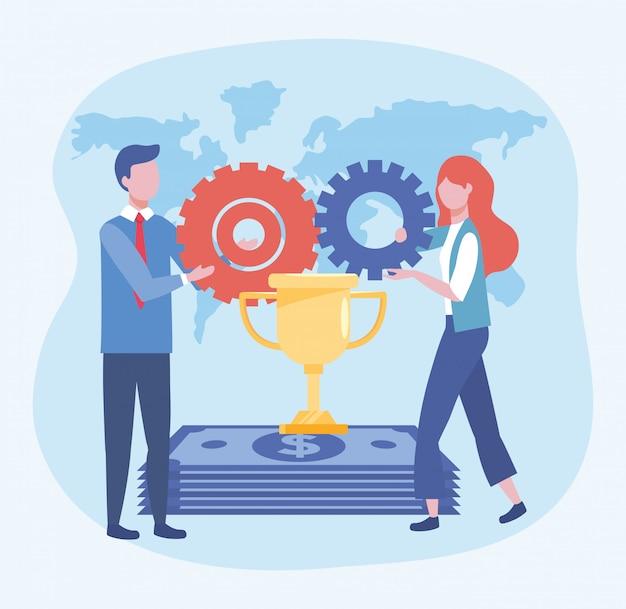 Biznesowa kobieta i biznesowy mężczyzna z filiżanki nagrodą i przekładniami