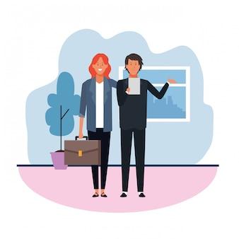 Biznesowa kobieta i mężczyzna w biurze