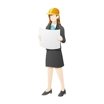 Biznesowa kobieta jest ubranym hełm budowlanego i otwiera projekt