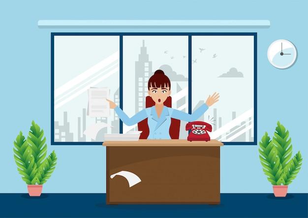 Biznesowa kobieta lub szef pracuje przy jej biurkiem w pracy przestrzeni, postać z kreskówki styl