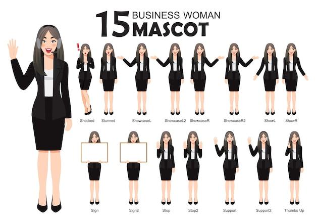 Biznesowa kobieta maskotka w czarnym garniturze, postać z kreskówki stwarza zestaw ilustracji