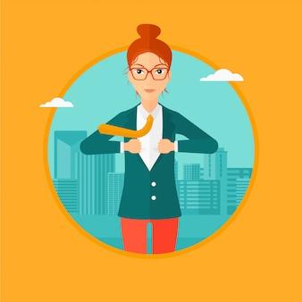 Biznesowa kobieta otwiera jej kurtkę lubi bohatera.