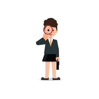 Biznesowa kobieta patrzeje przez powiększać - szkło.