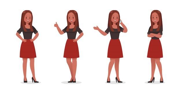Biznesowa kobieta pokazuje różnego gesta zestawu znaków