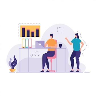 Biznesowa kobieta pracuje wpólnie miejsce pracy wektor