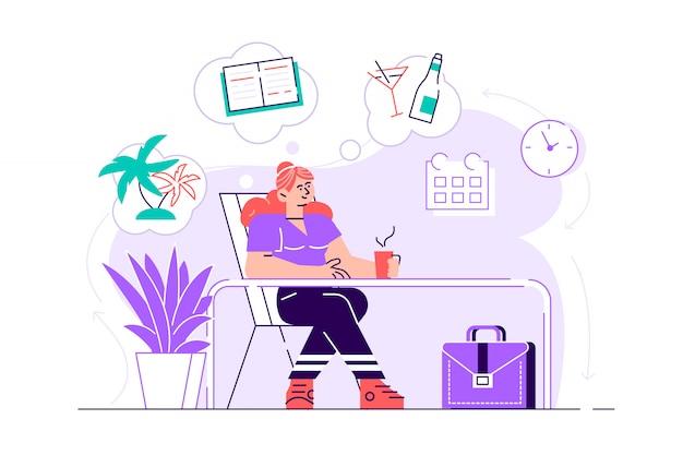 Biznesowa kobieta relaksuje się i marzy o wakacjach na tropikalnej wyspie w swoim miejscu pracy. nowoczesne wnętrze biura. pomysł na biznes. ilustracja nowoczesny projekt płaski na stronie internetowej, karty