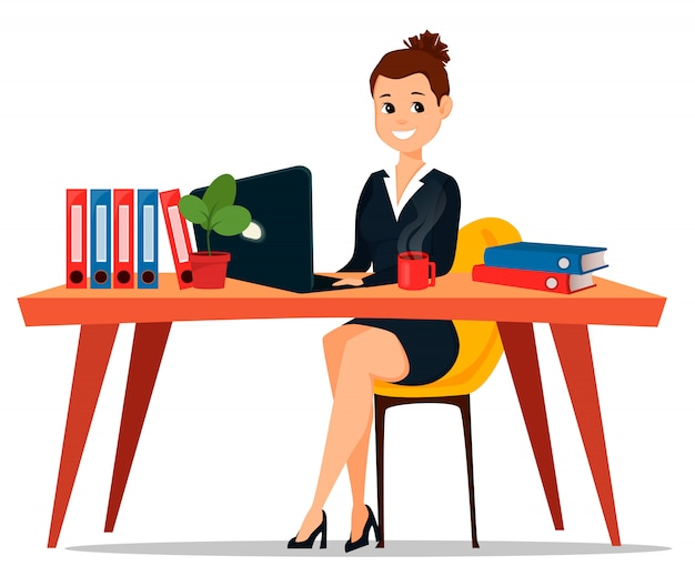 Biznesowa kobieta siedzi przy stołem