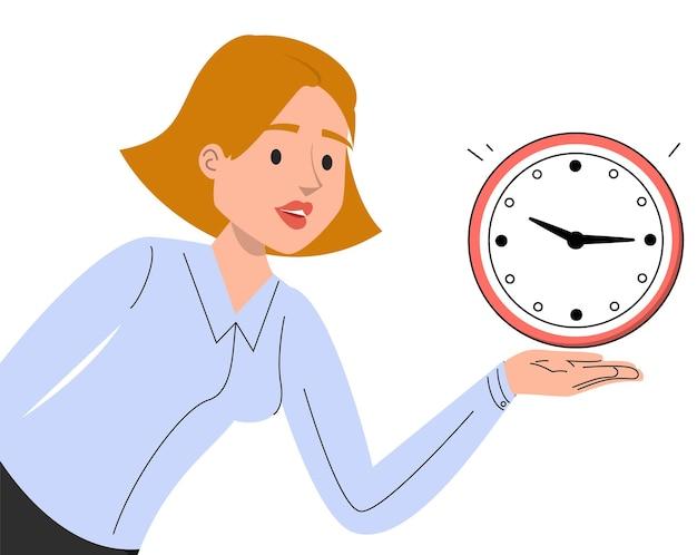 Biznesowa kobieta trzyma w ręku czerwony zegar