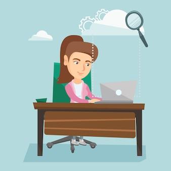 Biznesowa kobieta używa chmur oblicza technologie.