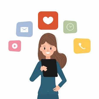 Biznesowa kobieta używa pastylkę komunikować.