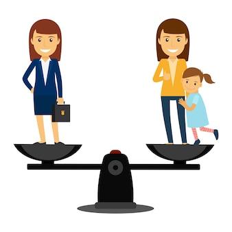 Biznesowa Kobieta Vs Rodzinna Kobiety Ilustracja Premium Wektorów