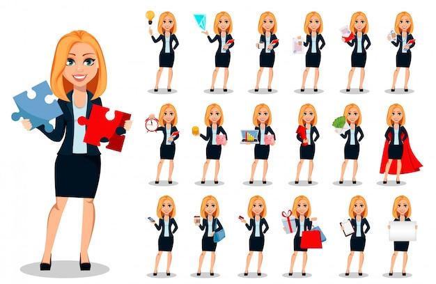 Biznesowa kobieta w biuro stylu ubraniach ustawia
