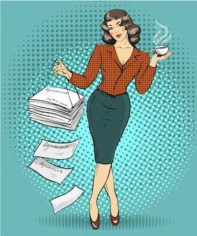 Biznesowa kobieta w stylu pop-art
