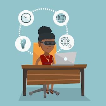 Biznesowa kobieta w vr słuchawki pracuje na komputerze