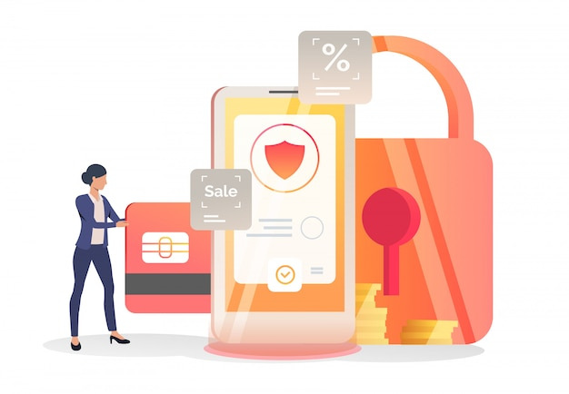 Biznesowa kobieta wkłada kredytową kartę w smartphone