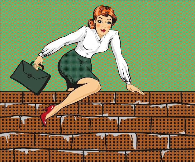 Biznesowa kobieta wspina się nad ogrodzeniem w stylu pop-art