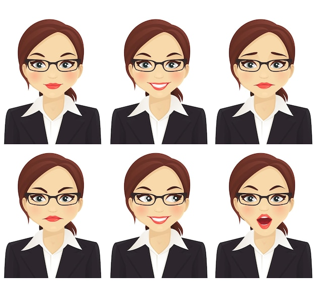 Biznesowa kobieta z różnymi wyrazami twarzy ustawionymi na białym tle