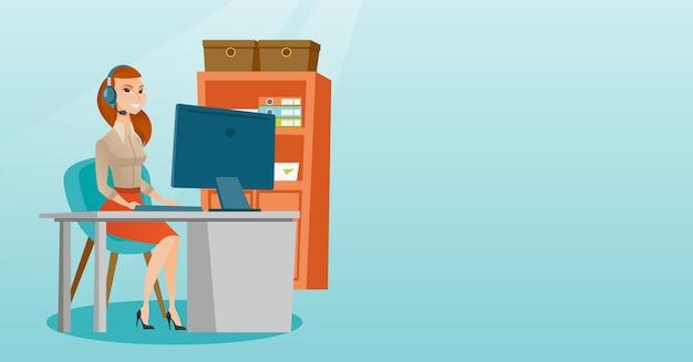Biznesowa kobieta z słuchawki pracuje przy biurem.