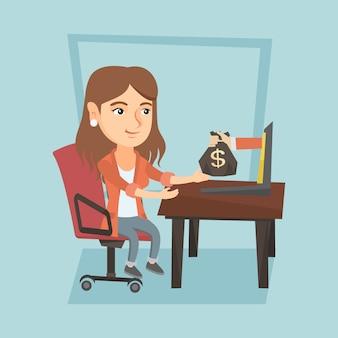 Biznesowa kobieta zarabia pieniądze od biznesowego online.