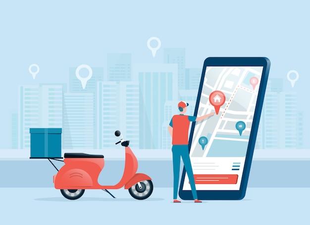 Biznesowa koncepcja dostawy online z dostawcą i mobilną aplikacją do nawigacji po mapie online.