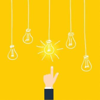 Biznesowa koncepcja znalezienia pomysłu. biznesmena wzruszający pomysł konceptualny.