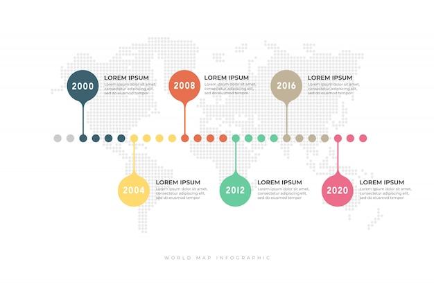 Biznesowa linia czasu z światową mapą infographic.