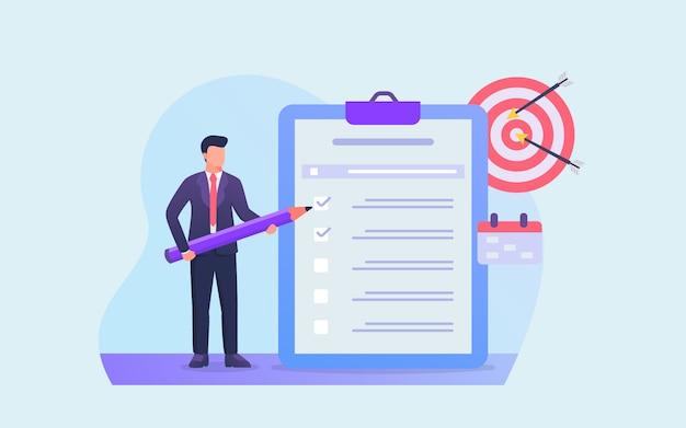 Biznesowa lista kontrolna lub lista rzeczy do zrobienia dla biznesmena, aby osiągnąć cel finansowy