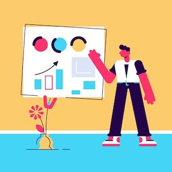 Biznesowa męska postać w garniturze mówi w pobliżu tablicy z wykresem i diagramem podczas prezentacji ilustracji.