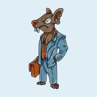 Biznesowa mysz z garniturem