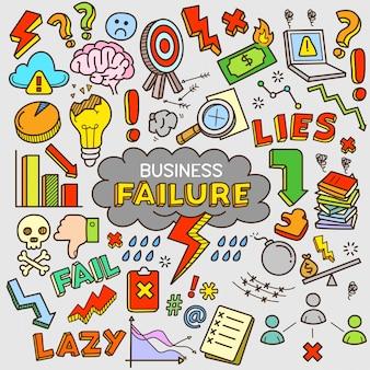 Biznesowa niepowodzenia kreskówki koloru doodle ilustracja