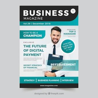 Biznesowa okładka magazynu ze zdjęciem