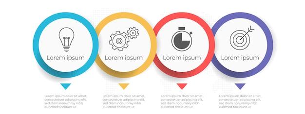 Biznesowa Oś Czasu Infographic Szablon 4 Opcje Lub Krok. Premium Wektorów