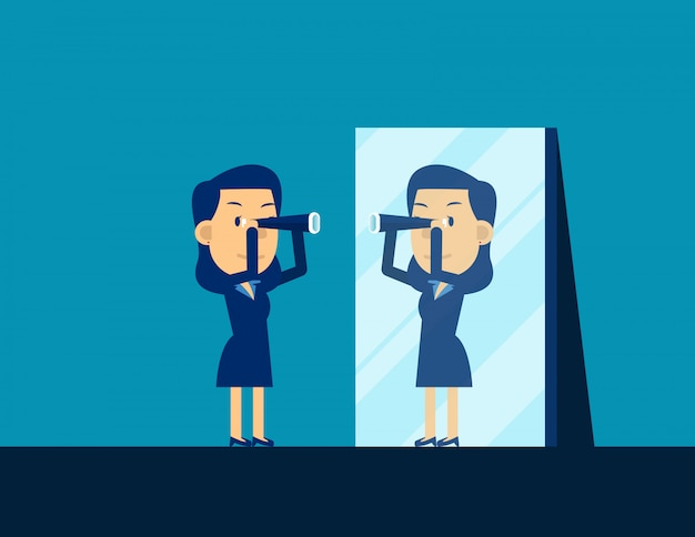 Biznesowa osoba patrzeje teleskop i odbija w lustrze