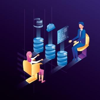 Biznesowa para z centrum danych sieci ikonami