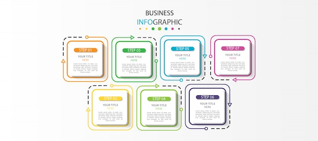Biznesowa plansza na osi czasu z 7 krokami lub opcjami
