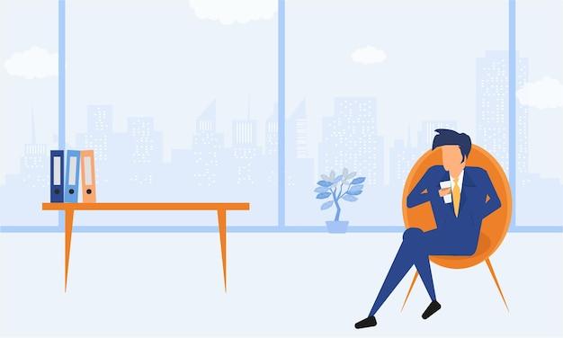Biznesowa płaska ilustracja. postaci z kreskówek biznesmen picia kawy w biurze zrelaksować się