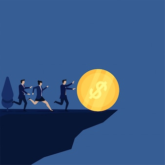 Biznesowa płaska wektorowa pojęcie drużyna biegająca po monety klif metafora chciwy.