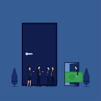 Biznesowa płaska wektorowa pojęcie drużyna dyskutuje w frontowym zamkniętym drzwi podczas gdy inny otwarte drzwi z pieniądze metaforą korupcja.