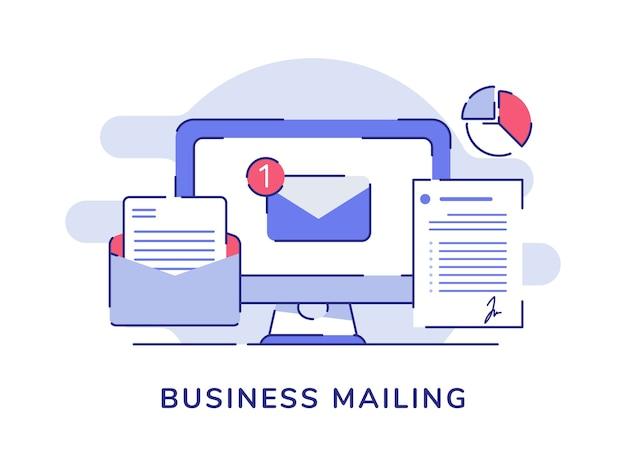 Biznesowa poczta e-mail na białym tle