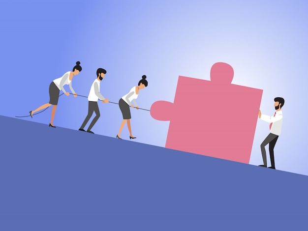 Biznesowa praca zespołowa i lider z biznesmenami i kobietami ciągnie sześcian pod górę. symbol przywództwa, motywacji, ambicji, wysiłku zespołu, wzrostu i sukcesu. eps10 ilustracji.