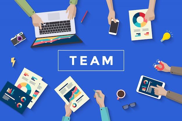 Biznesowa praca zespołowa, jedzenie i planowanie ludzi